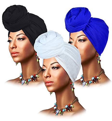 L'VOW 3 Pieces Stretch Head Wrap Scarf Soft Turban Headband Tie Long Hair Wraps Hijab Scarfs for Women (Black,White,Royal Blue)