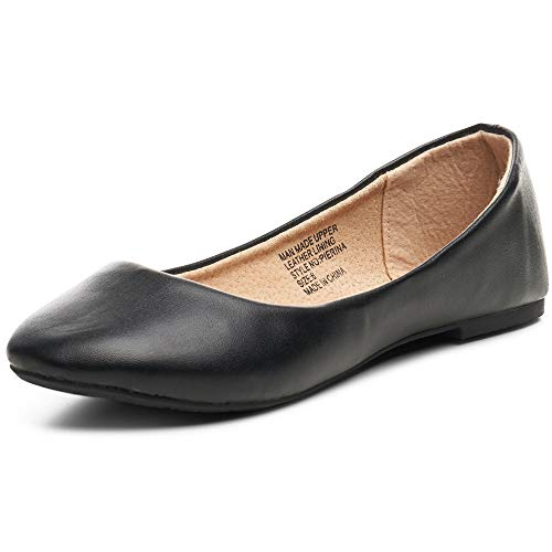 Alpine Swiss Womens Black Leather Pierina Ballet Flats 10 M US