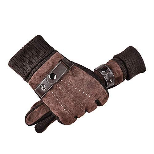 HGFHFHIO 1 paar isolerende handschoenen voor warmte, verdikking, bescherming tegen kou en fluweelzachte katoenen handschoenen, lederen handschoenen voor heren, winterfietsen, fietsen in de open lucht