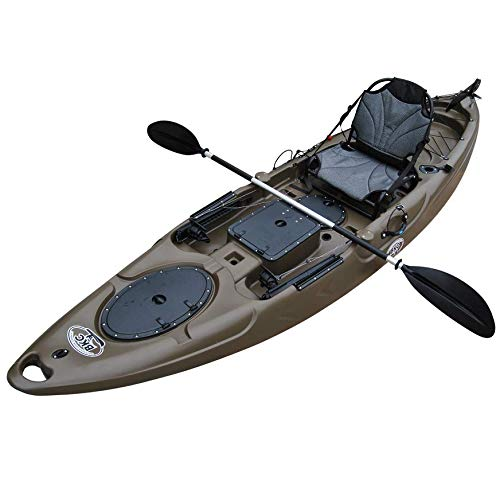 BKC RA220 11.5-Foot Solo Sit on Top Angler Fishing Kayak w/Upright Aluminum Seat, Paddle and Foot-Controlled Rudder