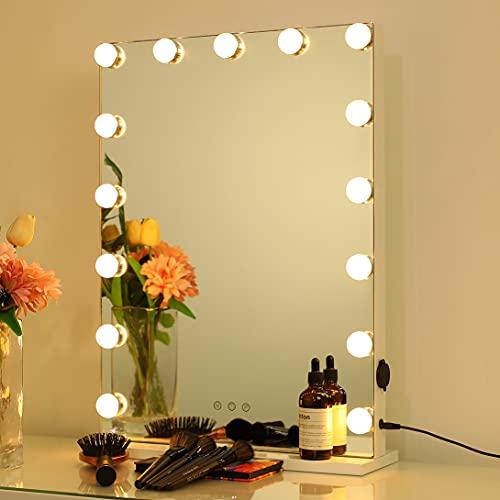 2-FNS Espejo Hollywood con 15 luces LED, gran espejo de maquillaje iluminado para vestidor y dormitorio, 3 modos de color, 80 x 60 cm, montaje en mesa o pared, color blanco