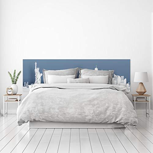 MEGADECOR Cabecero Cama PVC Decorativo Económico Dibujo Skyline New York Azul y Blanco Varias Medidas (200 cm x 60 cm)
