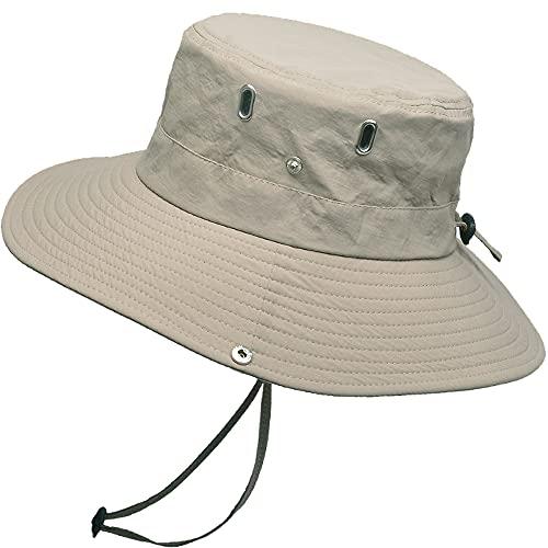 WANYIG Cappello Pescatore Uomo Donna Anti UV Tesa Larga Cappelli Uomo Estivo Cappello da Pesca Bucket Hat Fisherman Hat Safari Hat(360°Beige)