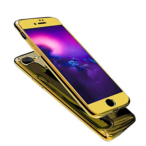 Funda para iPhone 6 Plus compatible con espejo, funda protectora ultrafina, carcasa rígida 3 en 1, ultrafina, carcasa rígida para PC, carcasa rígida de 360 grados antiarañazos dorado Talla única