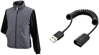 ヘンリービギンズ(HenlyBegins) 電熱ベスト テラヒート 杢グレー S USB延長ケーブルセット
