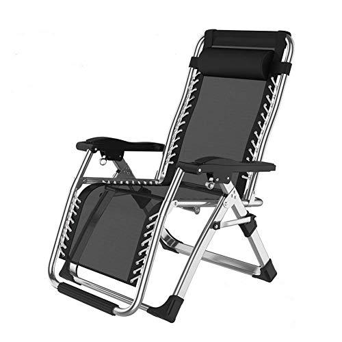 SFGH Sillones reclinables for sillas de jardín con reposacabezas Ajustable for Personas Pesadas Silla portátil for Acampar en la Playa al Aire Libre de Gravedad Cero, 200 kg (Color : A)