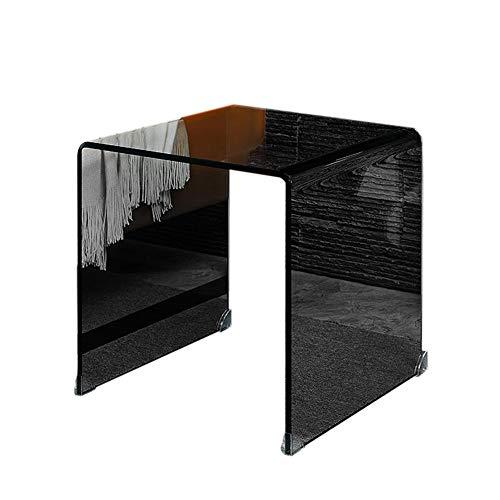 Jcnfa-bijzettafel Glazen Sofa Koffietafel, Creatieve eindtafel, Telefoontafel, Nachtstandaard, Helder, Elegant Zwart