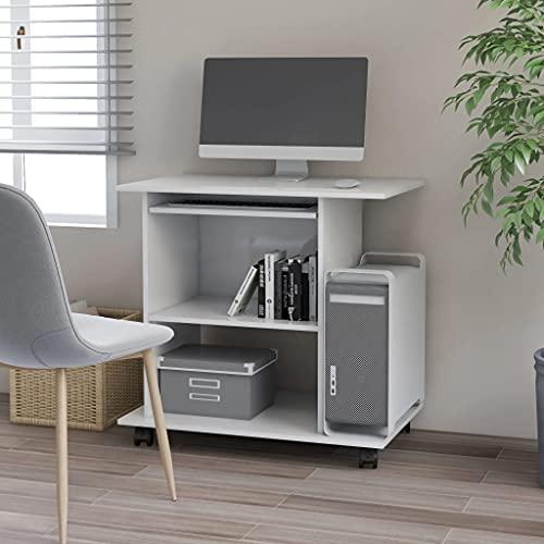LUYIPINGQIWND Color: Blanco con Brillo Mesa de Ordenador aglomerado Blanco Brillante 80x50x75 cm