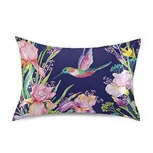 Silk Flower Arrangements Nander Hummingbird Iris Flower Satin Pillowcase for Hair and Skin Cool Soft Silk Pillow Cases No Zipper, 1 PCS Pillow Cover with Envelope Closure - 20x26 inch