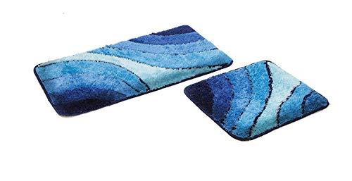 S&S-Shop Badematte Set | Blau | Wave | 2 teilig | rutschfest | WC-Vorleger 50 x 45 cm | Badvorleger 50 x 90 cm | Badteppich | Teppich | Bad | Badezimmer