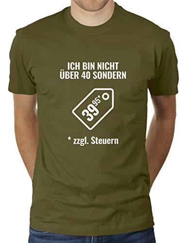 "KaterLikoli - Camiseta de manga corta para hombre con texto en alemán ""Ich bin nicht über cuarenta sino 39,95 + impuestos, diseño con texto en alemán verde oliva L"