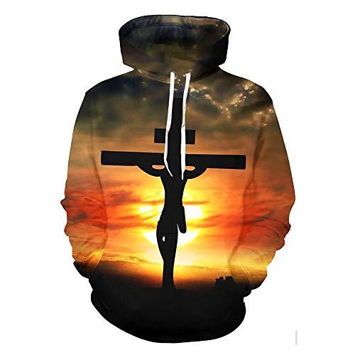Tanwenling33 Jesus Cross Hoodie Christ Religiöse Hoodie Sweatshirt 3D-Druck Pullover Jacke Mantel Frauen Männer
