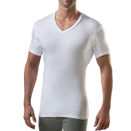 T THOMPSON TEE Sweatproof Unterhemd für Herren mit Unterarm-Schweißpads (Slim Fit, V-Ausschnitt) - Weiß - S (2 Pack)