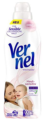 Vernel Hautsensitiv, Weichspüler für Allergiker und Babys, 36 (1x36) Waschladungen, mit mildem Duft
