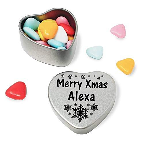 Merry Xmas Alexa Heart Shaped Mini Tin Gift filled with mini coloured chocolates perfect card alternative for Alexa Fun Festive Snowflakes Design
