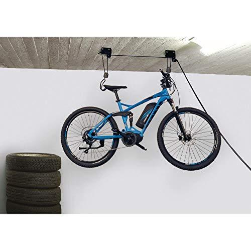Fischer Fahrradlift ProfiPlus |Tragkraft 57kg | Fahrradhalterung | Deckenmontage | Fahrradaufhängung, Schwarz, Normal