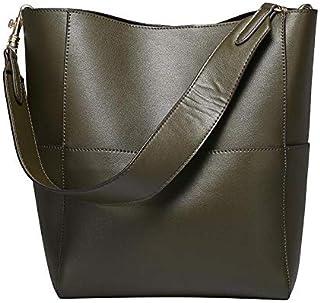 Large Handbag Lady Real Leather Bucket Handbag Female Luxury Ladies Shoulder Brown Bag (Color : Green)