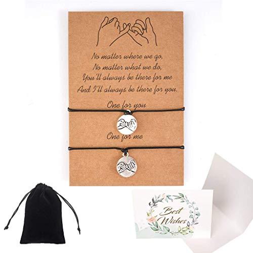 SNOWZAN Pulseras de la amistad para mujer, hechas a mano, trenzadas, con forma de corazón, para parejas, amigas, madres, hijas