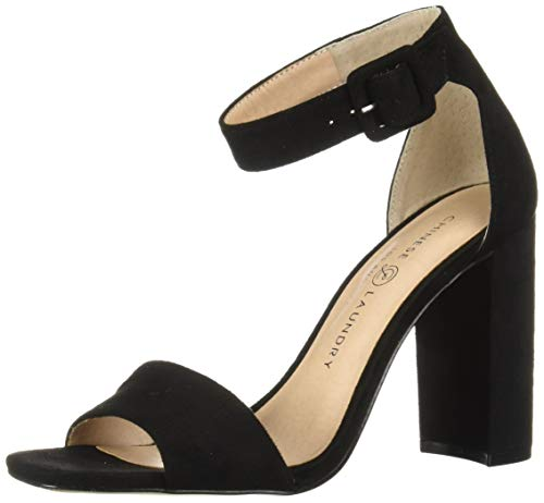 Chinese Laundry Women's JETTIE Heeled Sandal, Black Suede, 5.5 M US