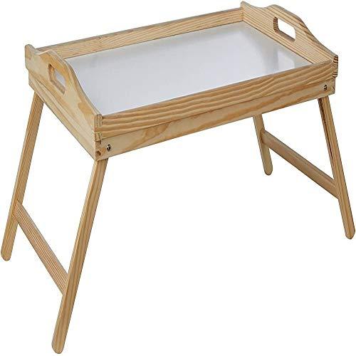 ZHENG Klappbarer Lapdesk Bambus Bett Tablett Tisch Mit Klappbaren Beinen Faltbares Tragbares Laptopfach Snack Tablett Frühstückstablett Klapptisch