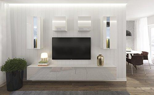 HomeDirectLTD Conjunto de Muebles Modulares Blanco Brillante - Smile (AN291-17W-HG21-1A, RGB Remoto)