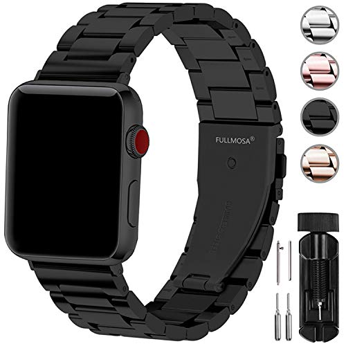 Fullmosa Compatibel met Apple Watch Band 42mm, roestvrijstalen horlogeband voor iWatch/Apple Watch Series 5/4/3/2/1, 42mm Zwart