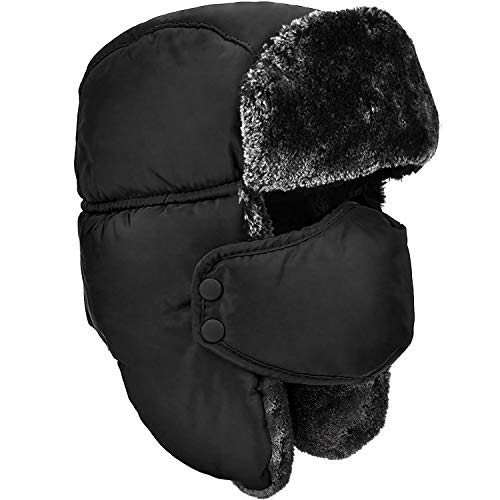 DOXHAUS Unisex Winter Ear Flap, Trooper, Trapper, Bomber Hat, Keeping Warm While Skating, Skiing Other Outdoor Activities Black, Grey Fur