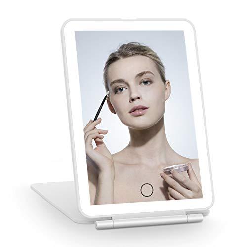 Fascinate Schminkspiegel LED wiederaufladbar für Reisen, Schminkspiegel mit tragbarer Beleuchtung, kompakter Spiegel mit 72 LEDs, beleuchteter Kosmetikspiegel
