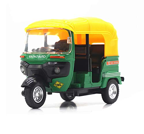 Ailejia Classic Tuk Tuk Taxi Car Model India Diecast Taxi Pull Back Tricycle Wind Up Wheels Car Toy Vehicle Collectible (Green)