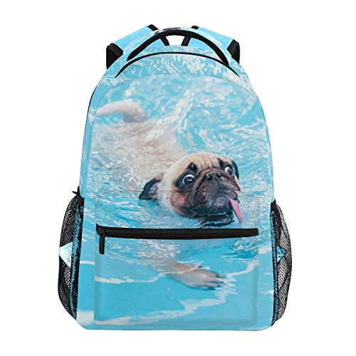 Happy Cute Pug Dog Backpacks Travel Laptop Daypack School Bags for Teens Men Women