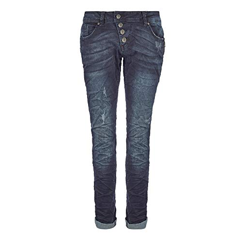 Buena Vista Malibu | Damen Jeans Hose dunkle Used Waschung | Stretch Denim Pants Knopfleiste Blue Black M
