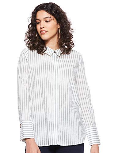 VERO MODA Damen VMCASSIE L/S MIDI Shirt WVN Bluse, Mehrfarbig (Snow White Stripes: Laurel Wreath), 42 (Herstellergröße: XL)