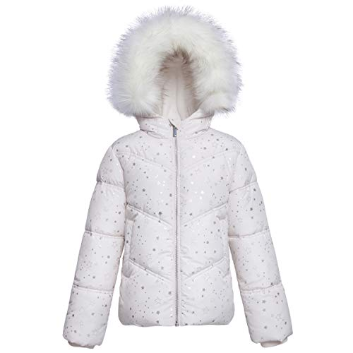 Girls' Heavy Padded Water-Resistant Hooded Thickened Quilted Puffer Jacket (XS(4-5), Cream White)