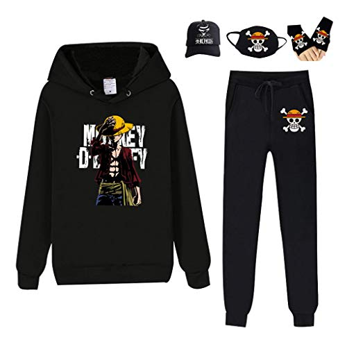 One Piece Manga 3D Anime Hoodie Pants Jacket Luffy Zoro Sanji Cosplay Costume with Baseball Hat Cap Mask Gloves Mens (09,L)