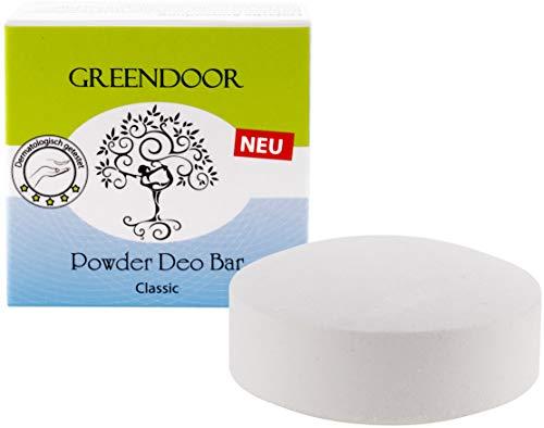NEU Greendoor Powder Deo Bar classic 50g, festes Deo Stück vegan ohne Plastik-Verpackung, Deodorant ohne Aluminium, sanfter unisex Duft für Frauen und Männer, natürlich mit Bio Babassu, schmilzt nicht