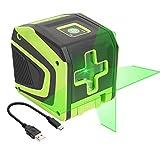 Huepar 2ライン グリーン レーザー墨出し器 クロスラインレーザー 緑色 レーザー 自動補正 傾斜モード 高輝度 ミニ型 操作簡単 Tpye-C充電可能 5011G