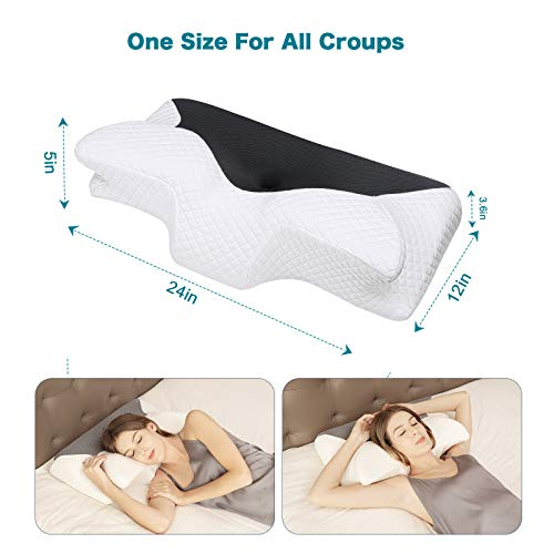 HOMCA Contour Memory Foam Pillow Cervical Neck Pillow for Sleeping, Ergonomic Orthopedic Contour Pillow for Side Back Stomach Sleepers, Black