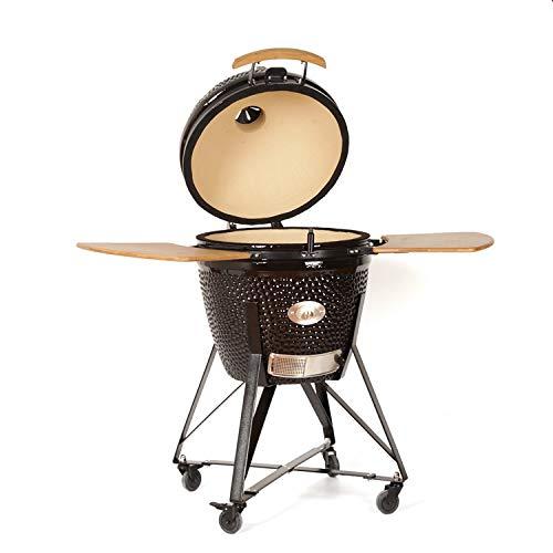 "YNNI KAMADO TQ0C23BL XL 23"" Grill, Black with Chipfeeder, BBQ, Ceramic, Egg, Smoker, TQ0C23BL"