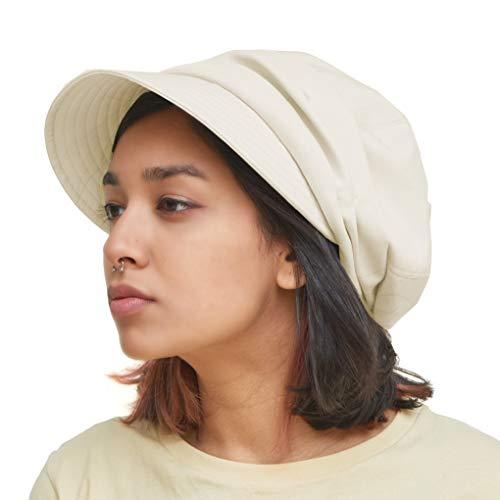 CHARM Bio-Baumwolle Sonnenhut für Frauen - Sommer Frühling Klappvisier für UV-Schutz, Chemo Empfindliche Haut Elfenbein
