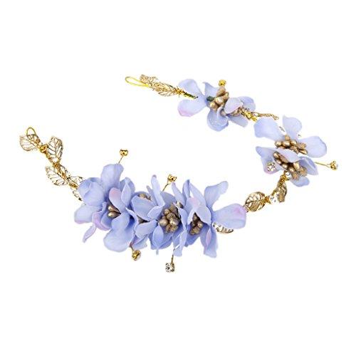Generic Haarband Blumen Kranz Blüten geflochten Haarschmuck Stirnband Haarreif Tiara - Blau, 38.5cm