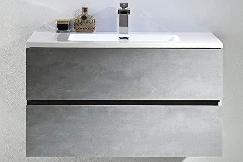 Bartolo Waschtisch 900mm aus Mineralguss - Beton-Grau - 2 Schubladen mit Softclosing - Pop-up Abflussgarnitur