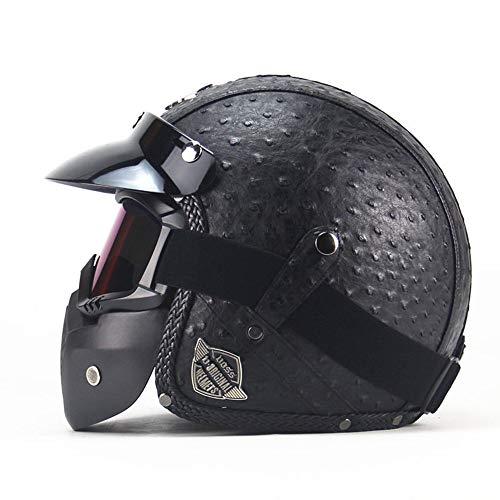 ZYW Retro Helm Handgemachte Lederhelm Klassischer Helm PU-Leder Helm 3/4 Motorradfahrradhelm Geöffnet Vintage Motorradhelm,Style 1,XL