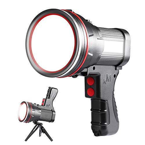 BrightestSpotlight 6000 High Lumen LED Flashlight Super Bright Lightweight Spot Light IPX4 Waterproof Searchlight Included Tripod Hiking Camping Flashlight USB Output