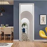 Diy Creativo Perspectiva 3D Blanco Edificio Puerta Pasta Reacondicionada Papel Autoadhesivo Dormitorio Habitación Pasillo Secreto Liquidación Decoración Pvc Papel Pintado Pegatinas