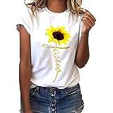 Camiseta de Mujer Manga Corta Girasol Impresión Blusa Basica Camiseta Suelto Casual Verano T Shirt...