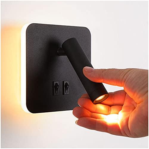 3W+7W Lámpara de Lectura de Pared LED, Aplique de Pared de Aluminio...