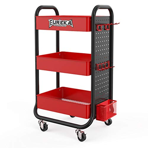 EUREKA ERGONOMIC 3 Tier Rolling Cart, Metal Utility Cart Lockable with Removable Hooks Storage Bins Craft Art Carts for Home Office School Gaming Desk, Black& Red