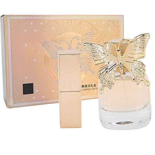 Coffret Cadeau Femme 2 Pièces 50 ml Parfum Élégant + Ensemble Rouge à Lèvres 3 Couleurs
