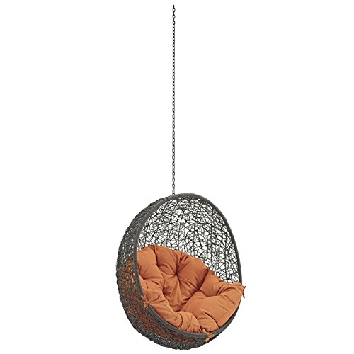 Modway Hide Wicker Rattan Outdoor Patio Swing Chair with Hanging Steel Chain in Gray Orange