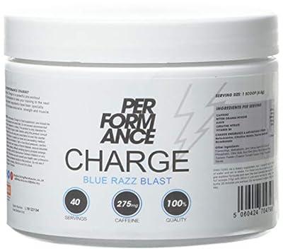 Bodybuilding Warehouse Performance Charge Pre-Workout Supplement - High Caffeine Creatine Vitamin B6 Energy Drink Powder, White, Blue Razz Blast, 280 Gram